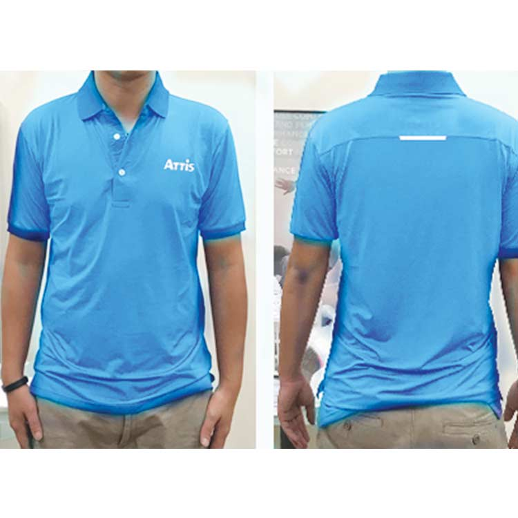 Ribbed stand-up collar short-sleeved polo shirt