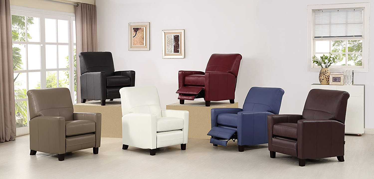 Amax Leather Conway Recliner, Navy Blue