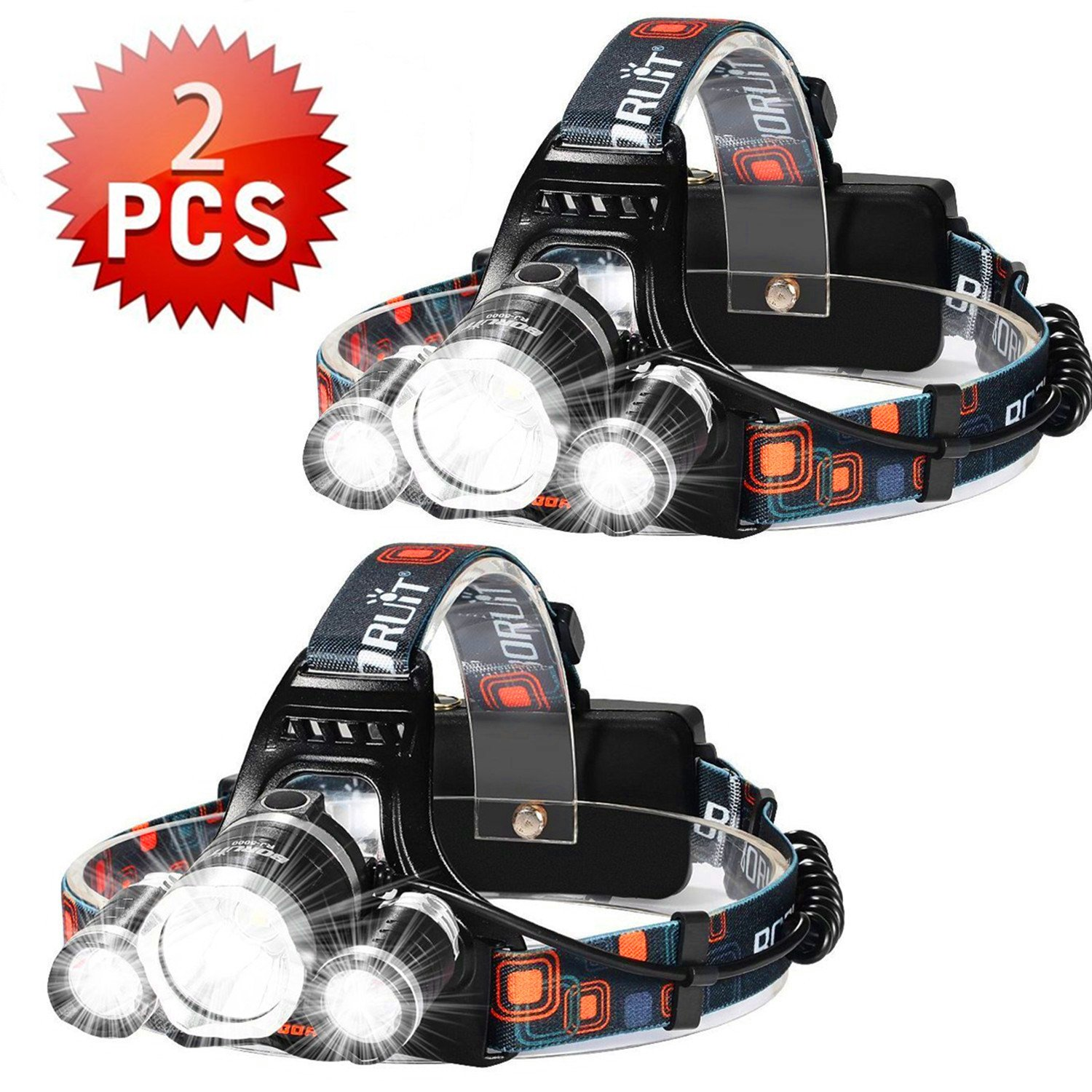 Brightest 6000 Lumen Led Headlamp Flashlight,Super Bright Fishing Head Lamp,Waterproof Hard Hat Light,Improved Led with Rechargeable Batteries for Reading Outdoor Running Camping Walking(2PCS Silver)