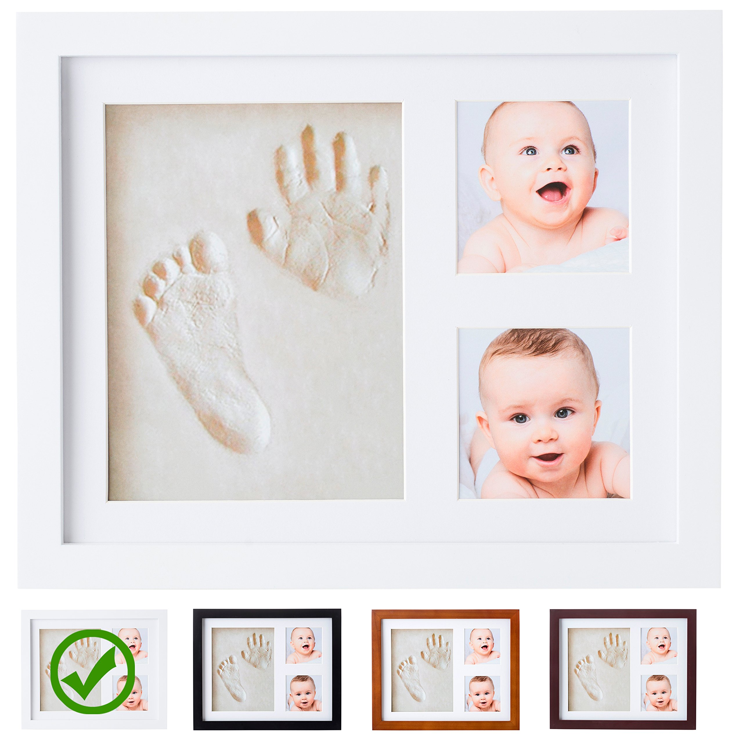 Baby Handprint Kit by Little Hippo |VIDEO INSIDE| Clay Baby Picture Frame (WHITE) Newborn Baby Footprint kit, best baby shower gifts! New Baby boy, girl hand print kit, infant impression keepsake