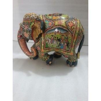 Geschnitzte Holz Elefant Mit Mughal Malerei Arbeit