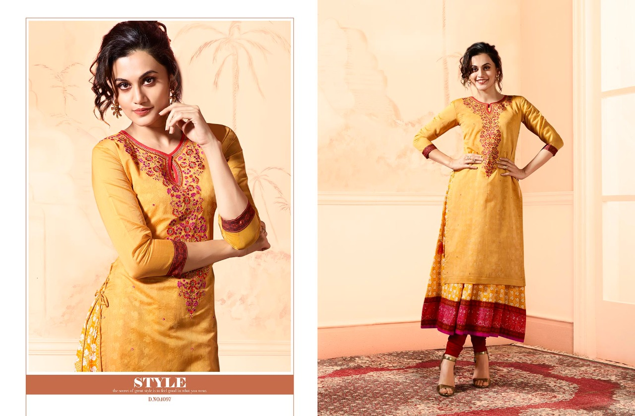 Cyber dot com Trending long kurtis with embroidery work in india
