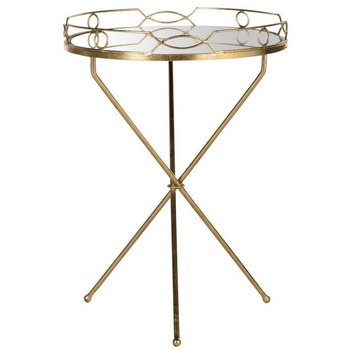 Round Mirrored Folding Side End Table in Gold Leaf Metal Frame Modern Accent Furniture with Serving Tray
