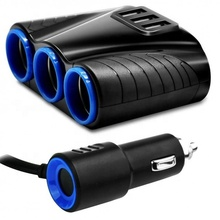 Forma Do <span class=keywords><strong>Cigarro</strong></span> Do Carro Soquete do Isqueiro <span class=keywords><strong>Splitter</strong></span> 12 3 V Carregador Dual USB Adaptador de Energia