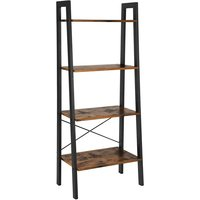 Leaning Ladder Style Bookcase, Industrial Metal Frame Furniture Shelving Unit Wooden Vintage Bookshelf