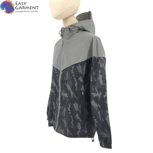 manufacturer clothing sports silk screen printed carbon fiber silver hooded rechargeable safety reflective jacket for dancing