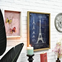 Luckywind Plain Wood Eiffel Tower Decorative Wall Hanging Plaque, Factory Blechschild French Style Unfinished Wood Sign;