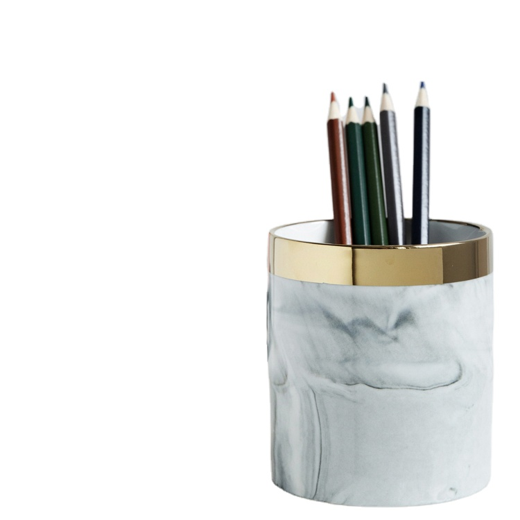 Ceramic Desk <strong>Pen</strong> <strong>Holder</strong> Stand Marble Pattern Pencil Cup Pot Office Desktop Organizer Makeup Brush <strong>Holder</strong> Desk <strong>Pen</strong> <strong>Holder</strong>