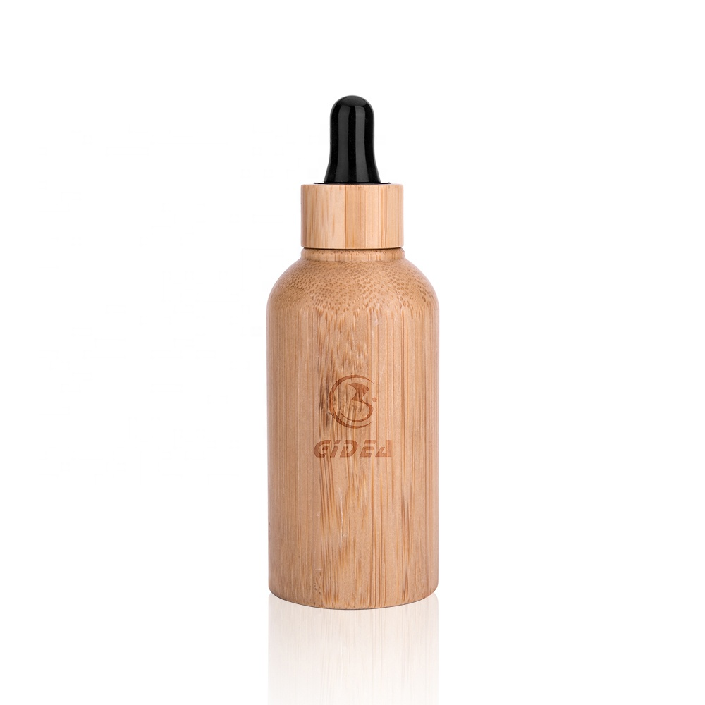 Bamboo Cosmetic Essential Oil Bottle Packaging With Dropper High Quality Bamboo Cosmetic Dropper Bottles