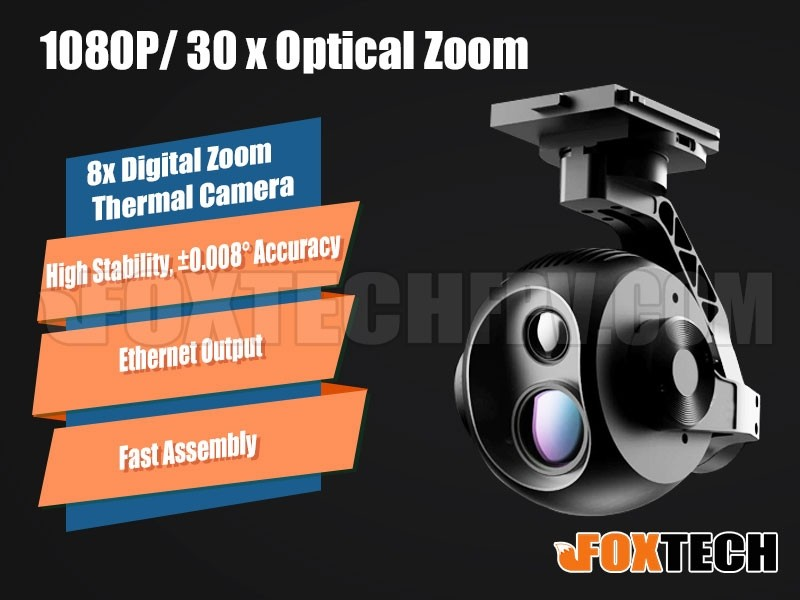 Foxtech EH640 30x Optical Zoom IR Thermal Camera uav with 3-axis Gimbal camera for survey