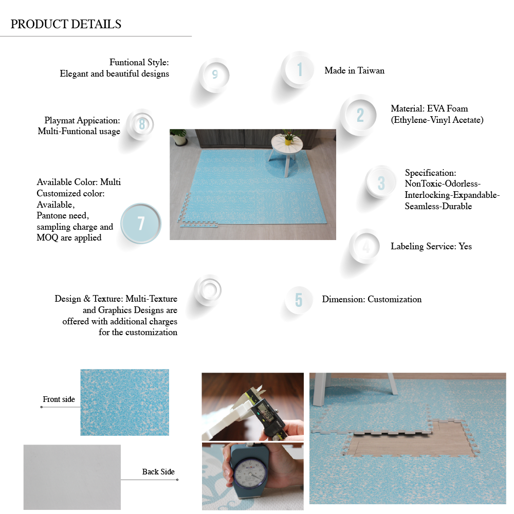 Retro Blue Memphis Pattern Soft Interlocking Waterproof Play Mat