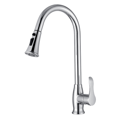 Swan Neck Arc Chrome Plating Hot And Cold Water Brass Kitchen Sink Faucet