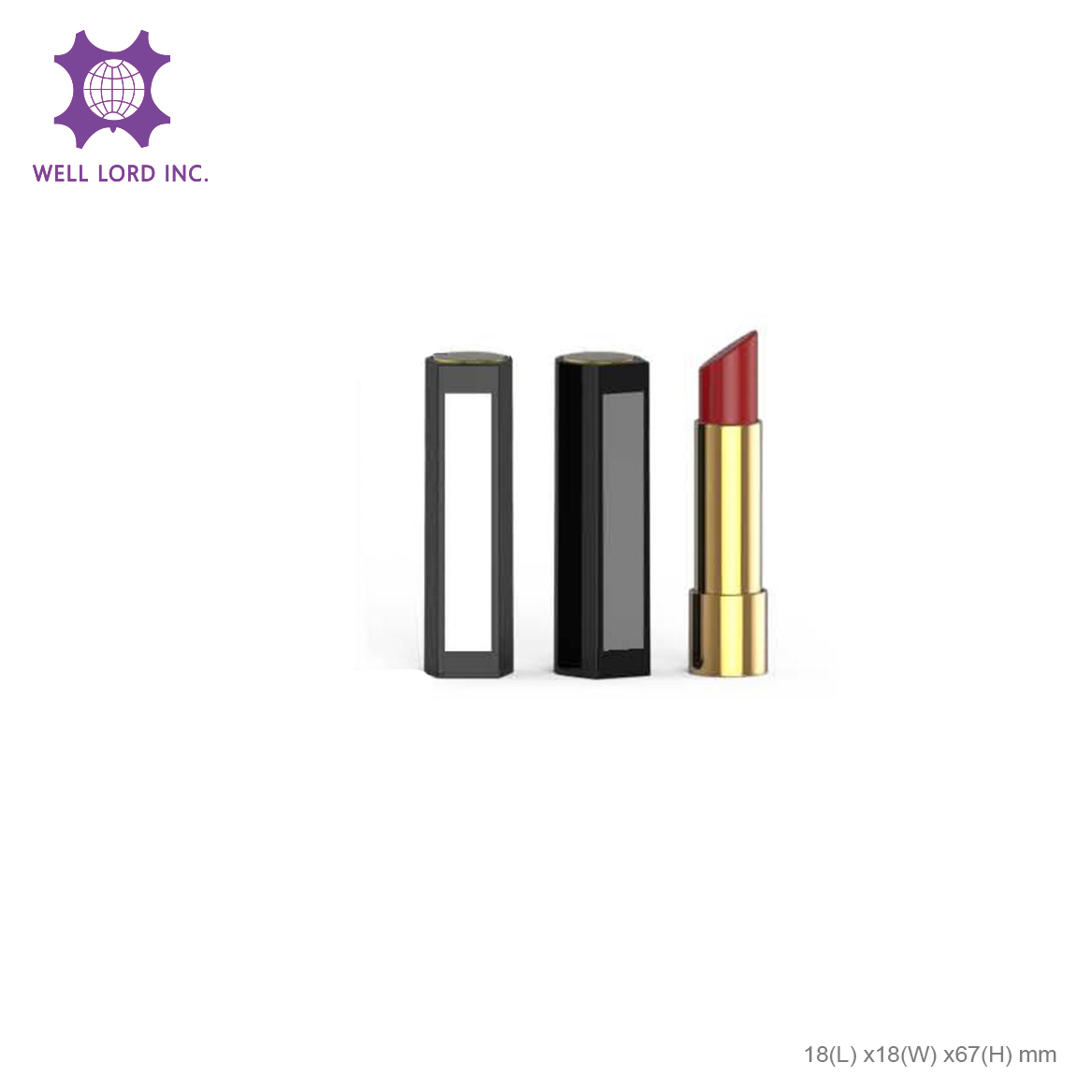 Luxury design matte black with case customized cap on  golden case empty lipstick tube container