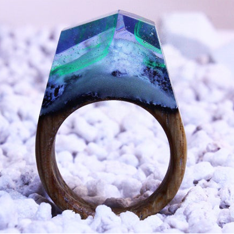 latest epoxy glow ring unique fashionable resin wood glowing in the dark ring jewelry for men and women