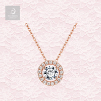 Wholesale 925 Silver Rose Gold Plated with 5A Cubic Zirconia Halo Style Cluster Pendant