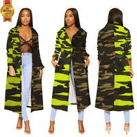 Hot Selling Ladies Designer Camouflage Print Stitching Long Coat Denim Varsity Life Woman Jean Bomber Jacket Factory In China