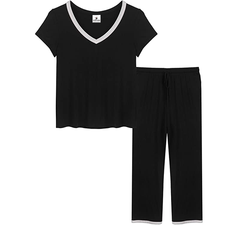 Womens Pajamas Short Sleeve V Neck Pjs Set with Pants