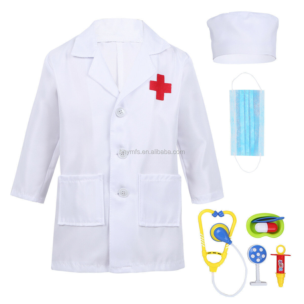 ฮาโลวีนชุดสีขาวชุดพยาบาลแพทย์เครื่องแต่งกายเด็ก