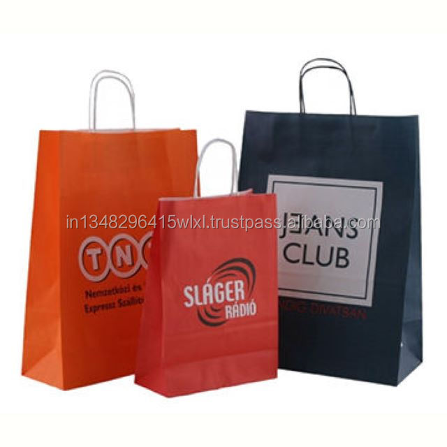 shopping paper bags with logos