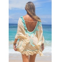 Stately High-Quality Bohemian Hand Embroidered Back Less Sexy Tassel Decoration Frill Hem Poncho Dress Unique Design Beach Wear
