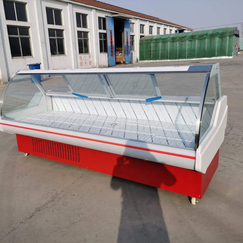 portable large supermarket open top display ice meat dip freezer for shop Cooked food cabinet