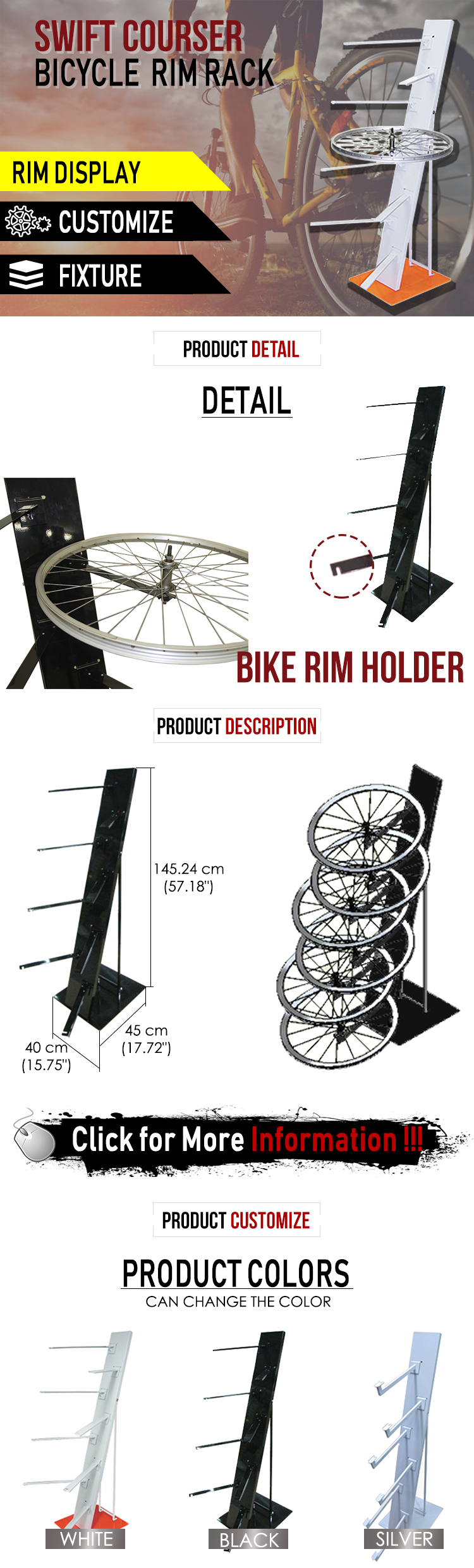 Swift simple steel bike wheel floor display stand