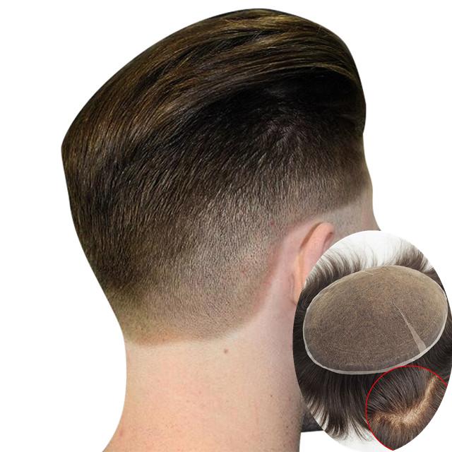 Mens Tóc Hệ Thống Mật Độ Ánh Sáng Men Toupee Cơ Sở Thụy Sĩ Ren Tóc Con Người Toupee Thay Thế Hairpieces
