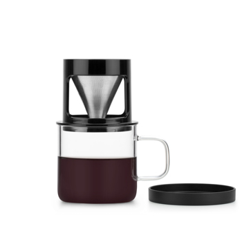 Pour Over Reusable Stainless Steel Coffee Filter With Removable Glass Cup Stand