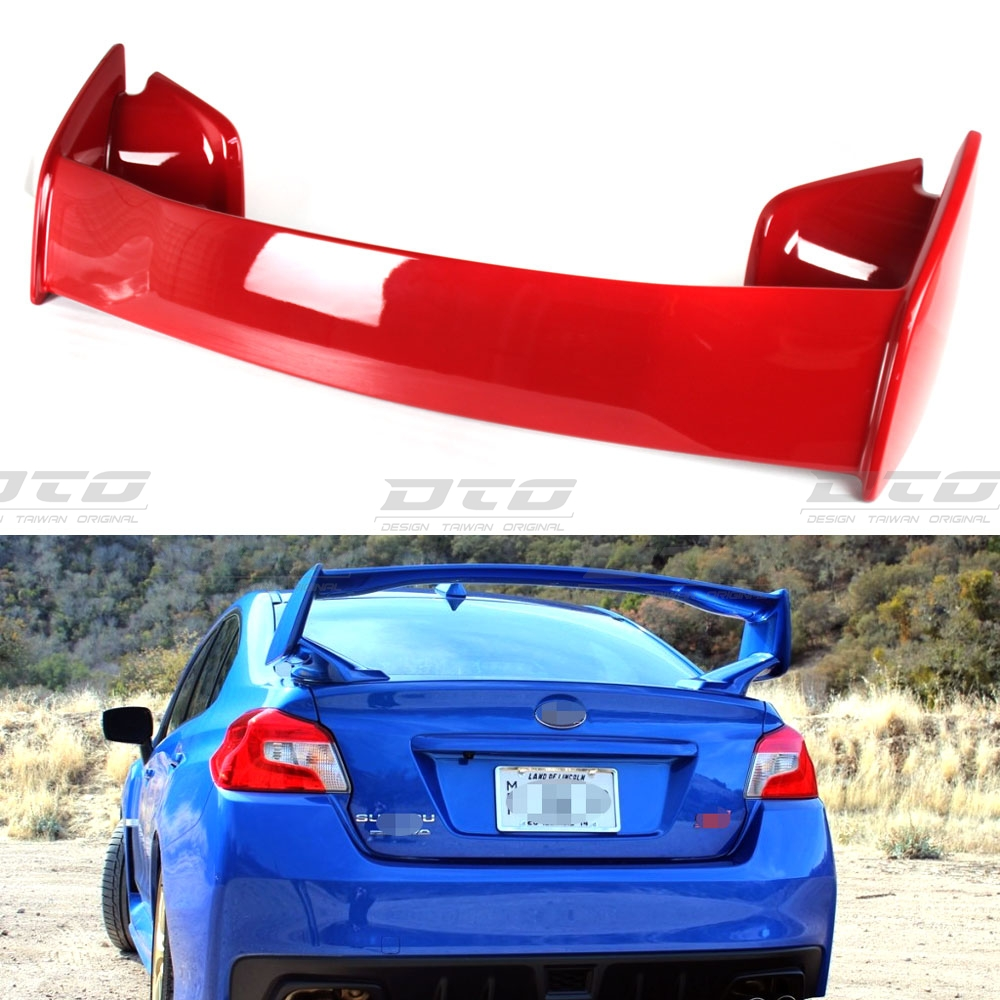 Side Fin 15+ Black Red For Subaru WRX STI 4D Top Gurney Flap Trunk Spoiler