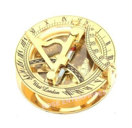 Vintage Marine Antique Brass Sundial Compass Nautical Stand Compass With Box