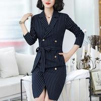 women business dresses suits for women Cotton Waist-controlled striped blue 440993