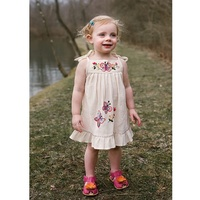Wholesale Children Wear Summer Pinafore Tunic with Multicolor Nature Butterfly & Floral Embroidery Kid Spaghetti Strap Dress