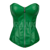 Green Color Women Body Shapewear Leather Waist Slimming Corset With G-string