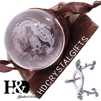 H&D 60MM 3D Chinese Dragon Design Clear Crystal Ball with Sliver-Plated Flowering Stand Art for Office Home Table Gifts
