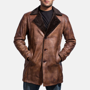 2019 Real Sheep Skin warm winter coat men long fur mens leather coat