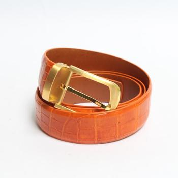 High Quality Orange Custom Genuine Leather Handmade Crocodile Belts For Men 35mm