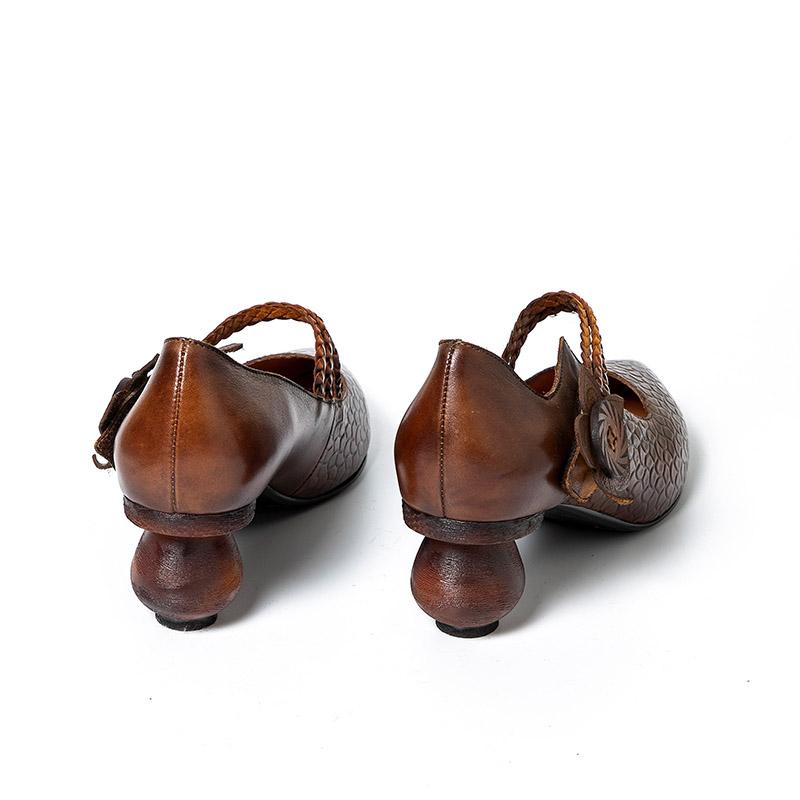 Vintage Women Shoes Woman Genuine Leather Retro Block High Heels Women pumps