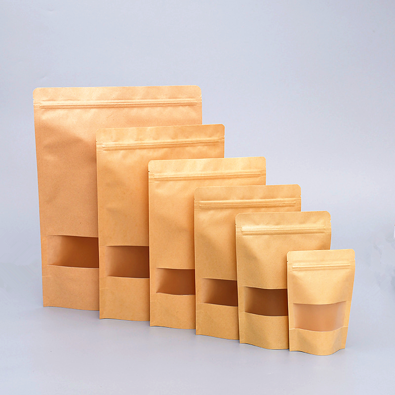 Heat seal food grade kraft paper stand up pouch ziplock bag with clear window