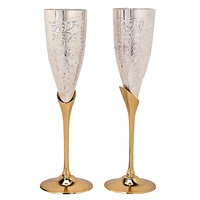 Silver Plated Brass Goblets Chalice Set of 2 in Gift Box Arab style Fancy Gold Engraved Metal Wine Glass