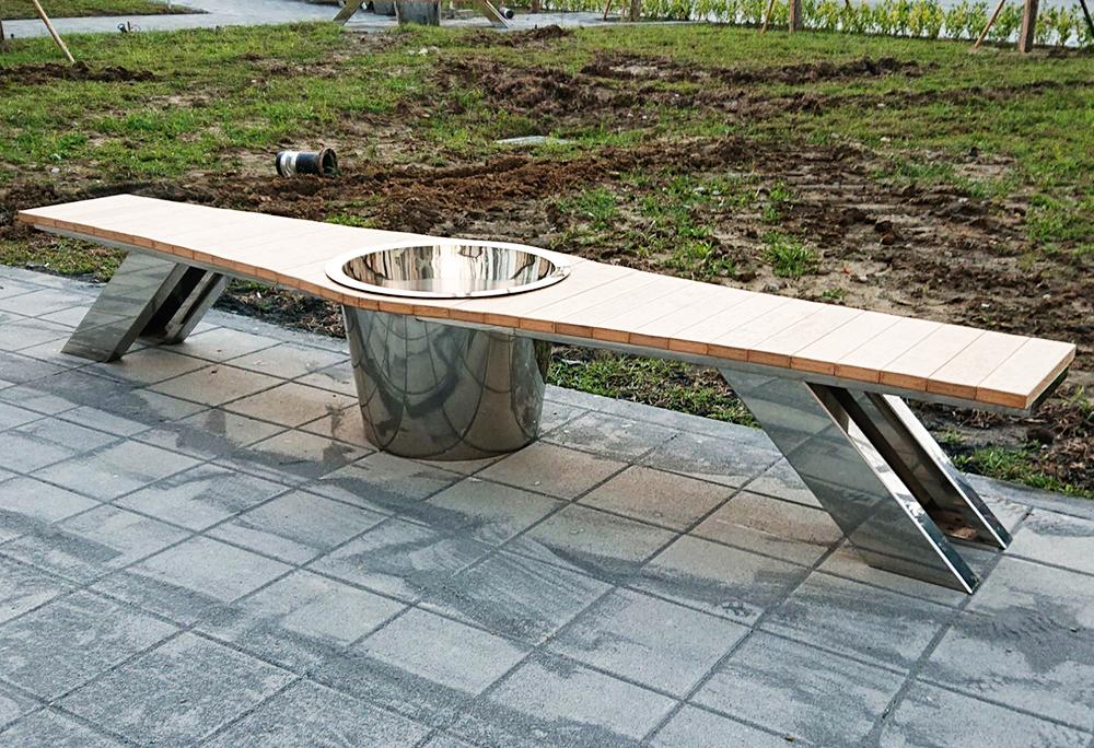Custom Stainless Steel Park Bench Art Installation