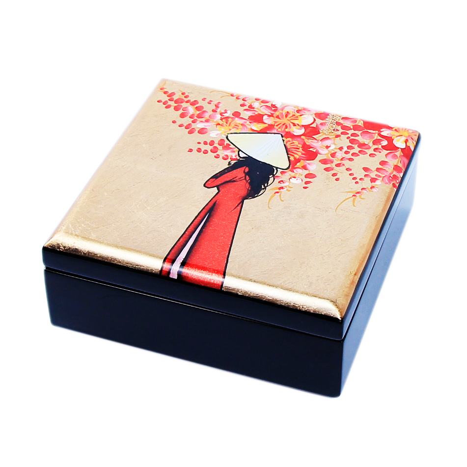 Vietnamese Hand Painted Boxes Custom Design Wooden Lacquer Home Decorative Collection Small Box