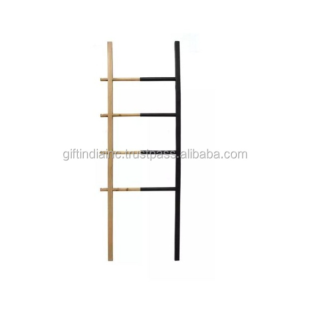 Wood and metal decorative ladder black - Gift India home decor