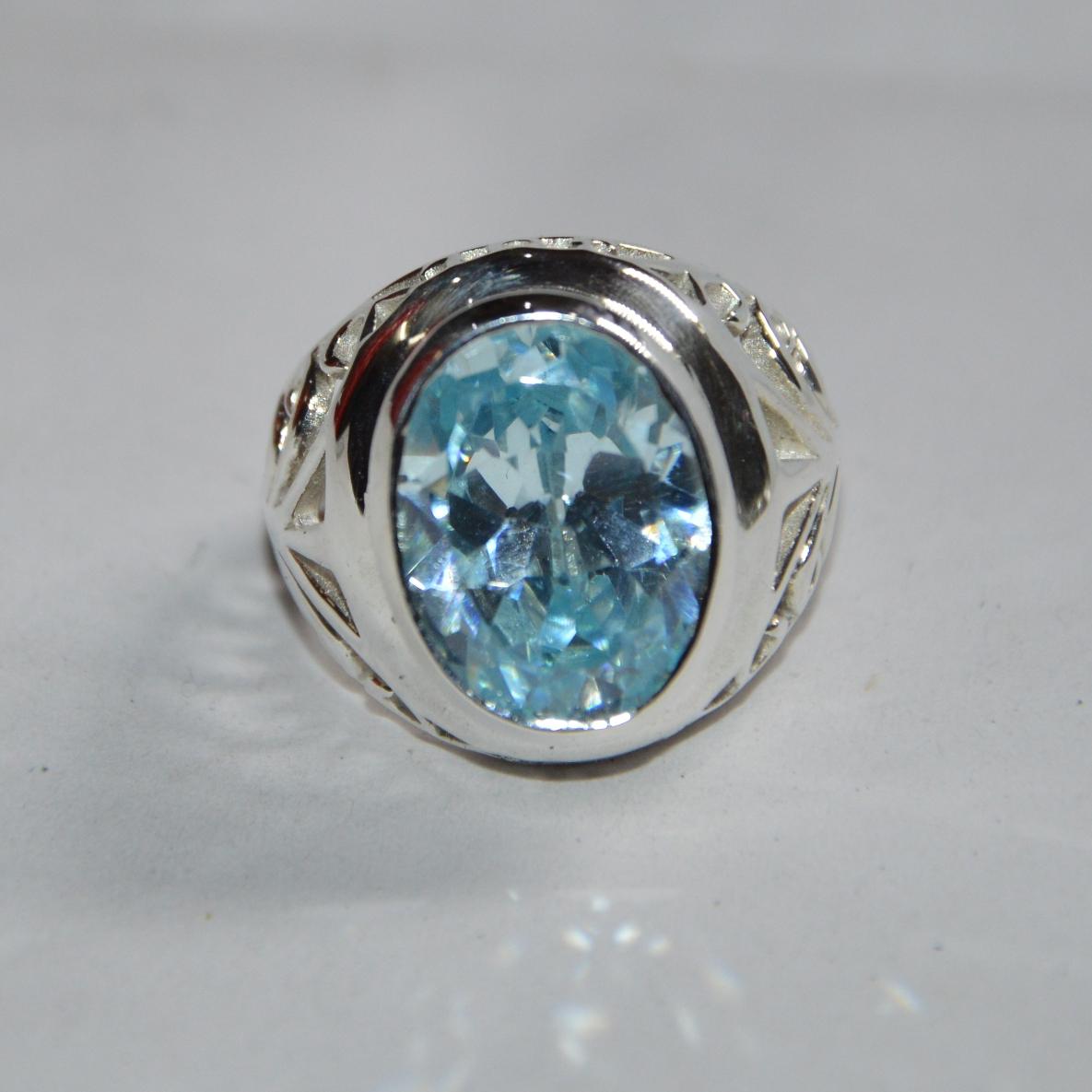 Sterling Silver Blue Topaz Statement Ring