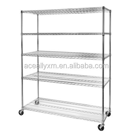 4 Wheels Galvanized/Powder coated/Chrome Kitchen Wire Shelving