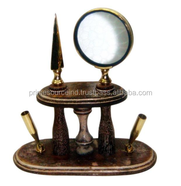 Wooden Desktop gift Set of magnify glass envelop opener and pen holder