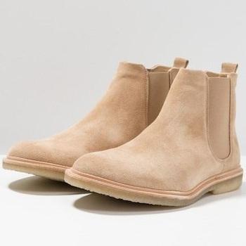 Camel Brown Suede Chelsea Boots Men