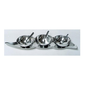 Metal tray soup bowls with spoons