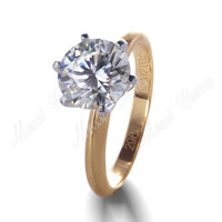 2 Carat Moissanite Ring 18K Yellow Gold Engagement Wedding Moissanite Diamond Ring