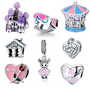 Cute Carousel Girl Baby Love House Charm Beads Fit Bracelet Bangle Necklace DIY Gift For Women
