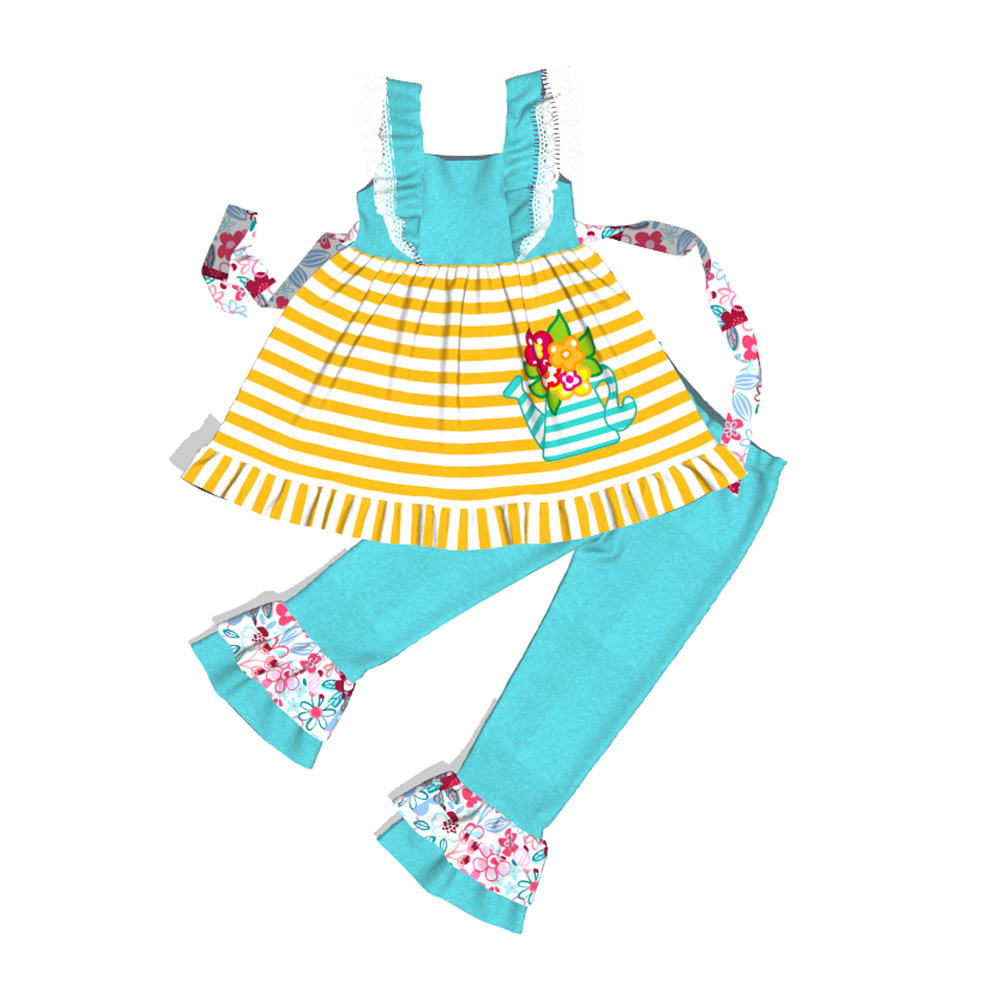 Conice nini hot sale festival cotton Casual flowerpot pattern kids dress romper wholesale